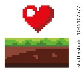 pixelated heart love life game...   Shutterstock .eps vector #1045107577