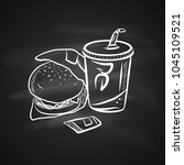 hand drawn chalk sketch on... | Shutterstock .eps vector #1045109521