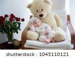 sweet little baby boy  sleeping ... | Shutterstock . vector #1045110121