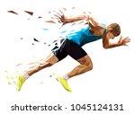 runner sprinter explosive start in running. polygonal particles | Shutterstock vector #1045124131