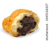 croissant with chocolate and... | Shutterstock .eps vector #1045126327