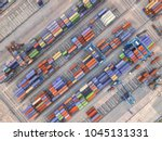 container ship in export and... | Shutterstock . vector #1045131331