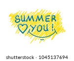 summer inscription  i love... | Shutterstock .eps vector #1045137694