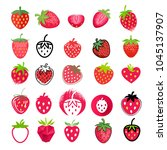 strawberry icons big set.... | Shutterstock .eps vector #1045137907