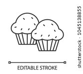 cupcakes linear icon. thin line ... | Shutterstock .eps vector #1045138855