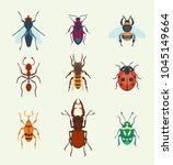 vector insects icons isolated... | Shutterstock .eps vector #1045149664