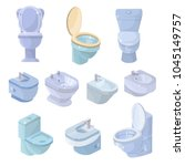 toilet bowl and seat vector... | Shutterstock .eps vector #1045149757