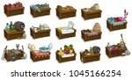 cartoon wooden shop market... | Shutterstock .eps vector #1045166254