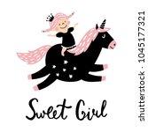vector illustration  cute girl... | Shutterstock .eps vector #1045177321