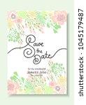wedding invitation card. vector ... | Shutterstock .eps vector #1045179487