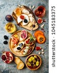 appetizers table with italian... | Shutterstock . vector #1045183375