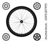 bicycle wheel silhouette plus 4 ...   Shutterstock .eps vector #1045187995