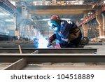 worker weld metal in factory... | Shutterstock . vector #104518889