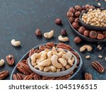 background of nuts   cashew ... | Shutterstock . vector #1045196515