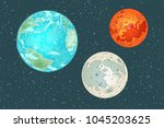 mars earth and moon  planets of ... | Shutterstock .eps vector #1045203625