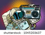 Stock vector astronaut with boombox audio and music pop art retro vector illustration comic cartoon vintage 1045203637