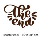handdrawing the end vector text ... | Shutterstock .eps vector #1045204525