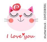 cute cat vector.t shirt print... | Shutterstock .eps vector #1045208581