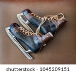 vintage ice skates  photo from... | Shutterstock . vector #1045209151