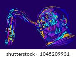 jazz saxophone player jazz... | Shutterstock .eps vector #1045209931