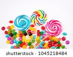 colorful candies on the white... | Shutterstock . vector #1045218484