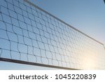 close up a volleyball net on... | Shutterstock . vector #1045220839