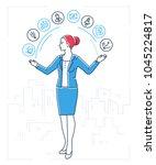 multitasking   line design... | Shutterstock .eps vector #1045224817