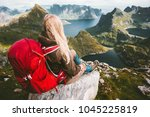 tourist woman relaxing alone... | Shutterstock . vector #1045225819