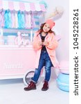 clothes for kid jeans denim fur ... | Shutterstock . vector #1045228261