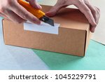 unboxing the parcels packed in...   Shutterstock . vector #1045229791