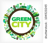 circle with green city  ...