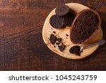 chocolate egg with filling of... | Shutterstock . vector #1045243759