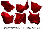 red flying fabric pieces ... | Shutterstock . vector #1045253131