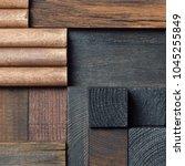 abstract dark wood block...   Shutterstock . vector #1045255849