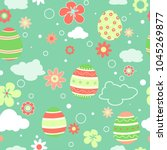 seamless pattern with easter... | Shutterstock .eps vector #1045269877