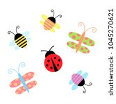 cute spring and summer insect ... | Shutterstock .eps vector #1045270621