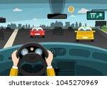 automobiles on street   highway ...   Shutterstock .eps vector #1045270969