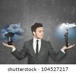 businessman torn between being...   Shutterstock . vector #104527217