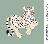 tiger lying on the ground... | Shutterstock .eps vector #1045277149