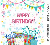 happy birthday  greeting card.... | Shutterstock .eps vector #1045277224