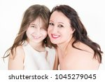 cheerful single mother family... | Shutterstock . vector #1045279045