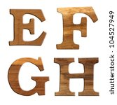Alphabet made from wood, isolated on white background. - stock photo