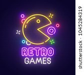 retro games neon sign  bright...   Shutterstock .eps vector #1045284319