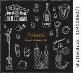 poland hand drawn doodle set.... | Shutterstock .eps vector #1045286071