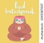 cute cartoon sloth sitting in... | Shutterstock .eps vector #1045287037