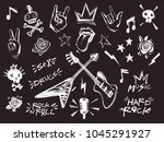 rock n roll elements collection.... | Shutterstock .eps vector #1045291927