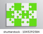 green piece puzzle rectangle... | Shutterstock .eps vector #1045292584