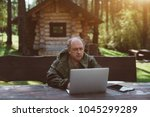 an adult serious partly bald... | Shutterstock . vector #1045299289