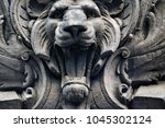 Grey Stone Lion Head With Mout...