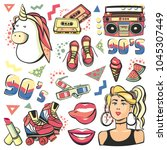 colorful retro collection... | Shutterstock .eps vector #1045307449